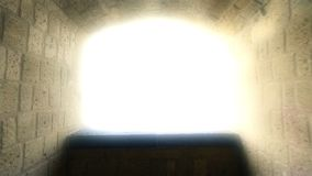 Way to heaven, point of view of dying person, light at end of tunnel, hypnosis. Stock footage stock video footage