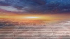 Way to heaven . Religious background. Steps leading up to the sun.  Way to God .  bright light from heaven .  Religious background  . Beautiful sky . Sunrise Stock Photography