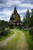 Way to Heddal Stave Church. A vertikal shot of the small way to the stave church of Heddal Stock Images