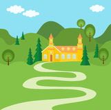 The Way To Home. Illustration with Summer rural landscape. The way to house between green hills, some trees, and blue sky with clouds Stock Photography