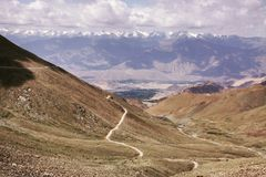 The way to the horizont. Wonderful road in Kashmir stock photography