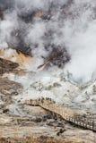 Way to hot spring of Noboribetsu Jigokudani Hell Valley: The volcano valley got its name from the sulfuric smell. Way to hot spring of Noboribetsu Jigokudani royalty free stock images