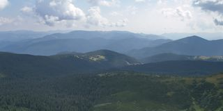 Way to Hoverla, the highest Ukrainian mountain, in cloudy summer day. Carpathian mountains, Ukraine: Way to Hoverla, the highest Ukrainian mountain, in cloudy royalty free stock photo