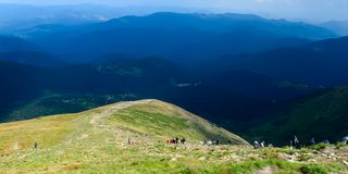 Way to Hoverla, the highest Ukrainian mountain, in cloudy summer day. Carpathian mountains, Ukraine: Way to Hoverla, the highest Ukrainian mountain, in cloudy stock image