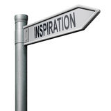 Way to inspiration brainstorm inspire. Road sign indicating the way to inspiration get inspired be creative create and invent brainstorm and inspire royalty free illustration