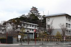 On the way to Karatsu Castle Karatsu-jo, which located by the. Sea. Taken in Saga, Japan, February 2018 stock photos