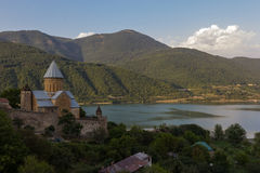 On the way to Kazbeg. Monastery located on the way to KaZBeG. Beautiful place right on the lake Royalty Free Stock Images