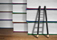 Way to knowledge concept, pencil Ladder with books Royalty Free Stock Photo