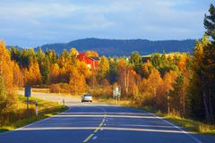 Road to Lapland in Finland. On the way to Lapland in autumn, northern Finland Stock Photos
