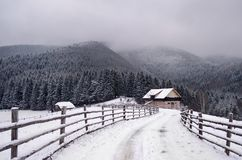 The way to the magic earth. Magical winter in the mountains of Romania. A land of fairy tales. Romanian forests Stock Photo