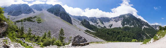 Way to Maltschacher Alm in Austria and view to Karawanks Stock Photo