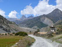 Way to Manang, view to Tilicho, Nepal Stock Photos