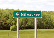 This Way to Milwaukee. A road sign marking the way to Milwaukee, Wisconsin Stock Image