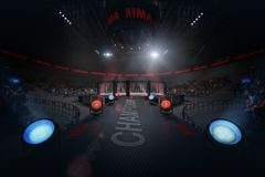 Way to mma arena on crowded stadium under lights. Way to mma arena view on crowded stadium under flashlights Royalty Free Stock Photos