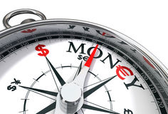 The way to money. Conceptual image with compass, euro, dollar and word money Royalty Free Stock Photos