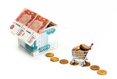 Way to money house. On white Stock Image