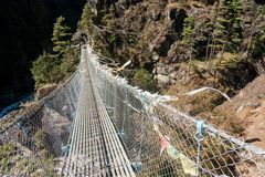 Way to Namche. View from the suspension bridge over Dudh Koshi River on route to Namche Bazar, Khumjung, Solu Khumbu, Nepal Royalty Free Stock Image