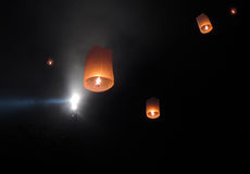 Way to Nirvana 01. Lanterns in the sky - waisak or vesak, celebration of the Buddha birth, enlightment and his death at the Borobodur temple Indonesia, 2014 Stock Photography