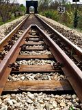 The way to nowhere. Rails railway train locomotive trip trip& x28;journey& x29; outdoors steel travel transportationsistem iron road perspective nowhere stock image