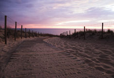 Way to the ocean. Wooden path to the beach of the Atlantic Ocean Royalty Free Stock Photos