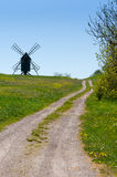 Way to an old Windmill on a hill Royalty Free Stock Image