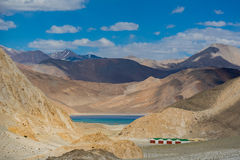 On the way to Pangong Lake in Ladakh,India. Pangong Tso, Tibetan for long, narrow, enchanted lake, also referred to as Pangong Lake, is an endorheic lake in the Royalty Free Stock Photography