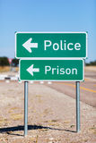 Way to police and prison Stock Image