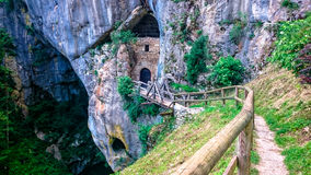Way to the Predjama castle caves Royalty Free Stock Photo