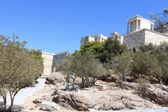 Way to Propylaea of the Athenian Acropolis Royalty Free Stock Photos