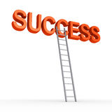 Way to reach success. 3d SUCCESS word is high and a ladder is leaning to it Stock Photos