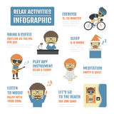 Way to relax. Relax activities infographic, isolated on white background Stock Photography