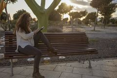 Sitting in a park at sunset reading stock photo