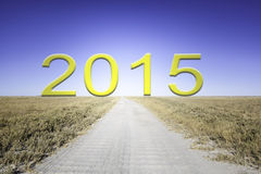 Way to 2015. Sandy trail through a dry grassland leading straight to the horizon. There is written the year 2015 in yellow letters Royalty Free Stock Photos