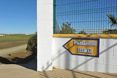 The Way to Santiago, Camino de Santiago, Distance to Santiago de Compostela Royalty Free Stock Photography