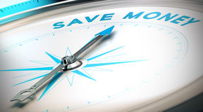 Way to Save Money. Financial solutions or money management concept image. Compass pointing the text save money, blue and beige tones Stock Images