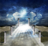 Way to sky. Abstract mystical cloudy way to the heavenly sky stock illustration