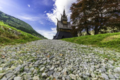 Way to Stave Church Hopperstad. A shot from the small way to the stave church of Hopperstad in Norway Royalty Free Stock Images