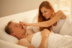 Way to stop snoring Royalty Free Stock Images