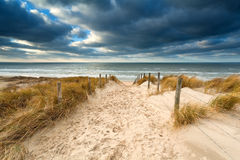 Way to stormy North sea beach Royalty Free Stock Images