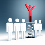 Way to success. Red man use a little help to success 3d background Royalty Free Stock Images