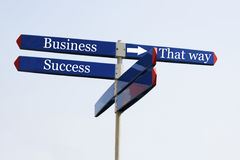 The way to success. Sign with success on it Stock Image
