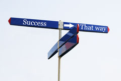 The way to success. Sign with success on it Stock Images