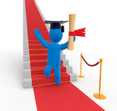 Way to success. Graduate standing on red carpet in front of stairs wearing graduates hat and waving with diploma. Concept of bright future and new possibilities Royalty Free Stock Image