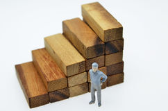 Way to success with  businessman and wood block step Stock Photography