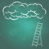 Way to success. Cloud and ladder on a green textured chalkboard. Doodle style, hand drawing Stock Image