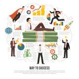 Way To Success Flat Infographic Poster Stock Photos