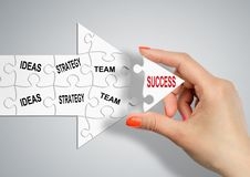 Way to success through ideas, strategy and team concept, hand bu stock photography