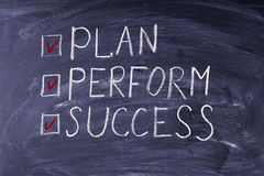 Way to success. Plan, perform, success. It is written in chalk Stock Photo