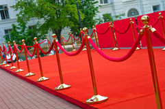 Way to success on the red carpet (Barrier rope). Way to success on the red carpet. (Barrier rope Royalty Free Stock Photo