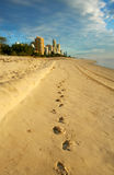 The Way To Surfers Paradise. Footprints in the sand lead the way to Surfers Paradise Gold Coast Australia just after dawn Stock Photography